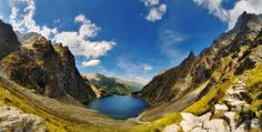Photo taken during the summer climbing the highest peak in Polish - Rysy. Five pictures glued together into a panorama. Tatra Mountains, Mountain Climbing, Bratislava, During The Summer, Capital City, Poland, The Good Place, High Tatras, Places To Visit