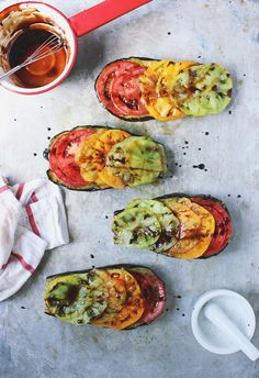 Basil Roasted Eggplant with Heirlooms + a Balsamic Drizzle by withfoodandlove #Eggplant #Tomato #Basil #Balsamic #Healthy #Light