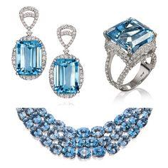 Blue mood! 💙 Detalhe dos brincos e anel de agua marinha combinados com colar em degrade de topazios azuis #somethingblue #colecaosultana #aguamarinha #topazioazul #amsterdamsauer