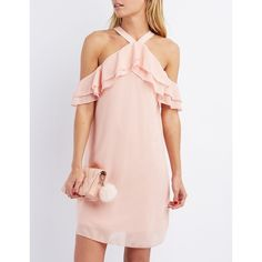 Charlotte Russe Cold Shoulder Ruffle Shift Dress (669.075 VND) ❤ liked on Polyvore featuring dresses, blush, layered ruffle dress, charlotte russe, charlotte russe dresses, flounce dress and pink ruffle dress