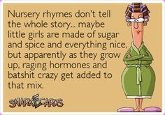 Nursery rhymes don't tell the whole story. maybe little girls are made of sugar and spice and everything nice, but apparently as they grow up, raging hormones and batshit crazy get added to that mix ; Haha Funny, You Funny, Funny Stuff, Funny Shit, That's Hilarious, Awesome Stuff, Funny Photos, Funny Images, And So It Begins