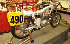 Randakk's AHRMA 350 Sportsman race-bike under construction.