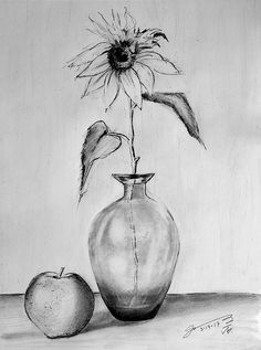 Graphite Pencil Drawing - Still Life - Glass Vase With One Sunflower And One Apple by Jose A Gonzalez Jr Still Life Sketch, Still Life Drawing, Still Life Art, Landscape Pencil Drawings, Pencil Art Drawings, Art Drawings Beautiful, Cool Art Drawings, Still Life Pencil Shading, Flower Vase Drawing