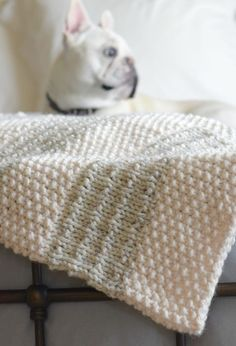 This super easy blanket knitting pattern works up really quickly! It can be made fast as it's done on large knitting needles. Knitted Throw Patterns, Knitted Afghans, Knitted Baby Blankets, Knitted Blankets, Knitting Patterns, Crochet Patterns, Blanket Patterns, Knit Mittens, Knitting Terms