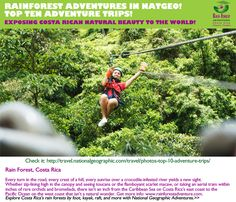 Rainforest Adventures Costa Rica poniendo en alto la naturaleza del país en el mundo! Top Ten de Viajes de Aventura en Nat Geo! http://travel.nationalgeographic.com/travel/photos-top-10-adventure-trips/#/costa-rica-adventure-zip_86051_600x450.jpg