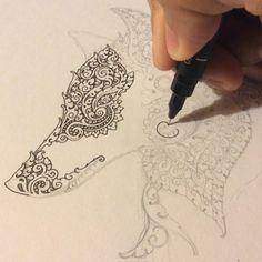 Inking - Wolf with Khmer ornament inspiration #wip #original #art #visothkakvei