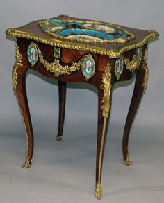 A superb quality Louis XVI kingwood Sèvres and ormolu table, the top inset with a Sèvres porcelain dish. French Furniture, Contemporary Furniture, Antique Furniture, Small Tables, Louis Xvi, Bars For Home, China Porcelain, Plaque, Baroque
