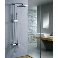"""Wall Mounted Bathroom with Handheld Shower 8"""" Shower Head Rainfall Faucet Set , Chrome Ys 7029"""