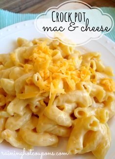 Crock Pot Macaroni and Cheese EASY Recipe Cheddar cheese soup Milk Elbow macaroni Shredded Cheddar Cheese Sour Cream Cook on LOW for 2 hrs