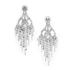 Mybridalring S 2 H Rhinestone Chandelier Earrings Feature A One Of Kind Mix Lacey Rhinestones With Dangling Shower Silver Bugle Beads And Seed
