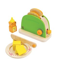 The popular Hape Pop-Up Toaster now with BONUS Blueberry Jam for extra fun! Rise and shine! This brightly-colored toy toaster is an essential part of the imaginative breakfast chef's kitchen. The toaster comes with a plate, play butter knife, butter Kids Wooden Play Kitchen, Play Kitchen Food, Play Kitchen Sets, Play Food, Food Kids, Play Kitchens, Toddler Toys, Kids Toys, Montessori Toddler