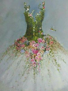Roses Tutu painting RESERVED for Hilda original ooak ballerina fantasy fairy costume gown Hummingbirds - art projects - Natural Christmas Tree, Christmas Tree Dress, Christmas Tree Decorations, Christmas Crafts, Fairy Decorations, Arte Floral, Floral Fashion, Fashion Art, Latest Fashion