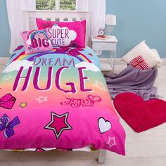 Jojo Siwa Bows Rainbow Single Duvet Cover Set Kids Bedding - 2 Designs In 1 Jojo Siwa Bows, Jojo Bows, Kids Bedroom Sets, Girls Bedroom, Bedrooms, Bedroom Ideas, Jojo Siwa Outfits, Jojo Siwa Birthday, Unicorn Birthday
