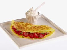 I omitted the sugar and used Splenda (fewer carbs) and this was really a savory dessert which was off the chart good!!! Omelet with Strawberries from FoodNetwork.com