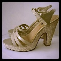 Nude heels Pair of nude strappy heels. Worn to a showcase event. Two scuff marks on the side of the right shoe, will come right off with some cleaning. Excellent condition. Rue 21 Shoes Heels