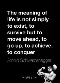 """""""The meaning of life is not simply to exist, to survive, but to move ahead, to go up, to achieve, to conquer.""""  — Arnold Schwarzenegger"""