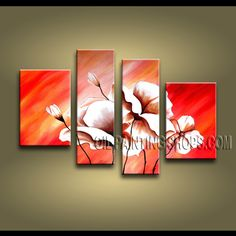 Amazing Modern Abstract Painting Artist Oil Painting For Bed Room Poppy Flowers. This 4 panels canvas wall art is hand painted by Bo Yi Art Studio, instock - $138. To see more, visit OilPaintingShops.com
