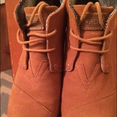 Original TOMS Desert Suede Wedges Rich cognac brown suede TOMS Wedge booties. Hardly ever worn, excellent condition! So comfortable and great to pair with a sweater in the winter and with a dress in spring! TOMS Shoes