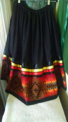 Women's Full SKIRT native american STYLE stomp dance ribbon skirt, fits all sizes, with adjustable Native American Clothing, Native American Regalia, Native American Fashion, Native Fashion, American Jewelry, Band Shirt, Jingle Dress, Full Skirts, Women's Skirts