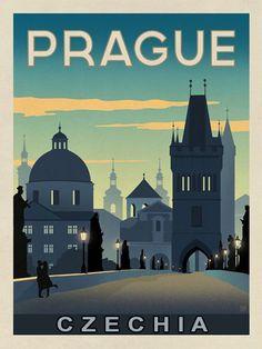 Prague travel poster #Prague #Czechia #appliedart