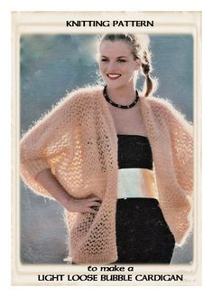 Instant Download PDF : Vintage 1970's English Knitting Pattern  to make a Light Bubble Cardigan Loose Summer Jacket