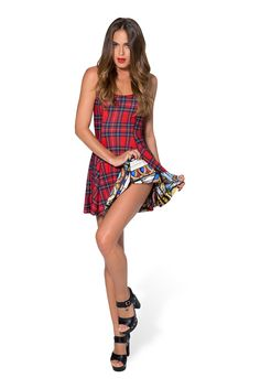 Tartan Red vs Cathedral Inside Out Dress - LIMITED by Black Milk Clothing $170AUD