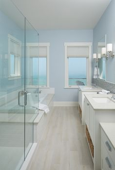40 Perfect Coastal Half Bath Remodel Ideas 65 Storybook Shingle Beach House with Coastal Interiors Home Bunch Interior Design Ideas 4 Coastal Bathrooms, Beach Bathrooms, Coastal Living Rooms, Light Blue Bathrooms, Beach House Bathroom, Beach House Decor, Master Bathroom, Bathroom Wall, Small Bathroom