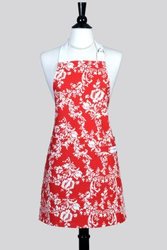 Womens Kitchen Apron Cherry Red and White Floral Damask Retro Chef Style Canvas Apron with Pockets, Towel Loop by TastyAprons on Etsy