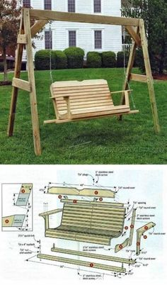 Porch Swing Plans - Outdoor Furniture Plans and Projects - Woodwork, Woodworking, Woodworking Plans, Woodworking Projects Swing Set Plans, Outdoor Wood Furniture, Diy Furniture, Building Furniture, Diy Porch, Diy Woodworking, Woodworking Workshop, Woodworking Videos, Woodworking Organization