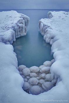 ~~Lake Michigan ... ice balls III ~ Sleeping Bear Dunes National Lakeshore, Glen Arbor, Michigan by Ken Scott~~