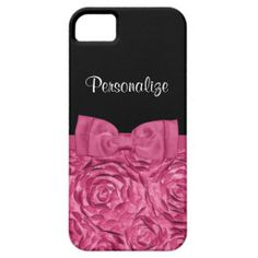 A chic pink and black Barely There iPhone 5/5S Case with a feminine and stylish rose floral pattern and a girly hot pink ribbon tied into a cute bow. Personalize this pretty romantic pink flower design by adding your name.
