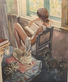 by Olga Samarina - lol, could be me, Zen,Claude and Medusa!! except one would be on the window sill and one of them would probably be on the book LOL