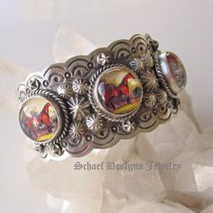 Mini Bridle Rosette Horse Cuff Bracelet (the Rosette's are Reverse Crystal) The Silver was more than likely done by a Native American, whereas the Rosettes were Imported, English, or Czech.