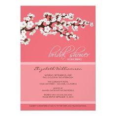 cherry blossom bridal shower invitation pink