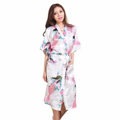 c8a002e2a1 HOT SALE Bathrobe Women Wedding Bride Bridesmaid Robe Nightgown Sleepwear  Flower Kimono Gown Plus Size S