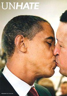 オバマ大統領とウゴ・チャベス=ベネズエラ元大統領のキスシーンを描いた「ユナイテッド カラーズ オブ ベネトン」(11年)
