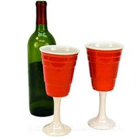 For the classy redneck- RED CUP WINE GLASSES