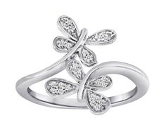 Sterling Silver Butterfly Diamond Ring- WON THIS FOR $0.02 ON QUIBIDS! SAVED $74.40...I'm a happy Bidder!!