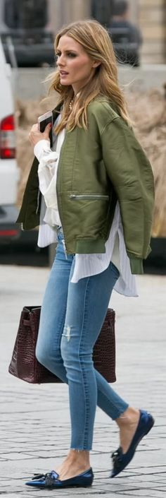 Who made Olivia Palermo's green bomber jacket, blue tassel loafers, and red tote handbag?