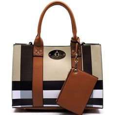 Plaid Satchel Bag ($75) ❤ liked on Polyvore featuring bags, handbags, brown satchel purse, brown crossbody, brown handbags, handbag satchel and brown purse