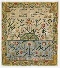 "Four cross borders; one containing verse; two showing floral patterns and squirrels; the inscription ""Sarah Cook, her sampler 1744"" surrounded by angular floral border with stags in the corners. Silk embroidery on wool."