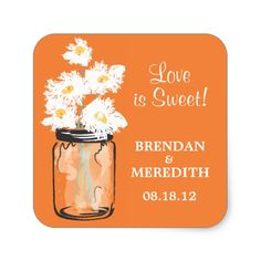 Mason Jar and White Daisies Wedding Square Sticker