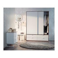 TRYSIL Guardaroba ante scorrev/4 cassetti - bianco/grigio chiaro - IKEA