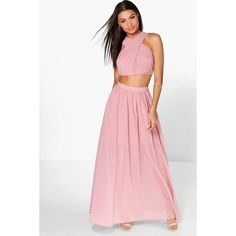 Boohoo Night Boutique Satya Chiffon Maxi Skirt Co-Ord Set ($52) ❤ liked on Polyvore featuring skirts, blush, white skort, white skirt, skort skirt, print skirt and white chiffon skirt