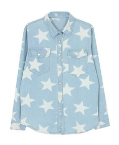 Five-Pointed Stars Printed Blue Denim Blouse