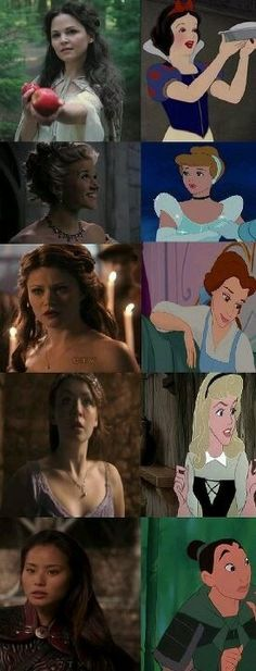 disney princesses and their ouat counterparts