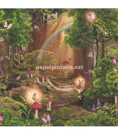 Magic Fairy Garden Wallpaper Arthouse 696009 World of Wallpaper Magic Fairy Garden Wallpaper Arthous Fairy Tree, Forest Fairy, Fairy Land, Magical Forest, Fairy Wallpaper, Of Wallpaper, Nursery Wallpaper, Magic Room, Fairy Bedroom