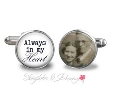 ♥♥~Mens silver Cuff Links~♥♥ Memorial Photo Cuff Links Perfect for the Groom! Black & White Photo or Colour Photo please send me the photo via Etsy Covo Made with high quality cuff links. The cufflinks are made of brass and are nickel and lead free!! @@@@ IMPORTANT PLEASE READ