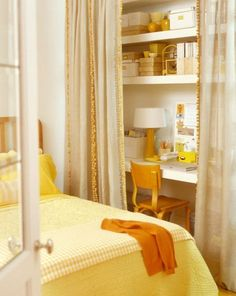 A closet with curtains can be a great space for a small home office.