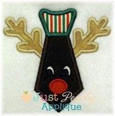 Reindeer Neck Tie Winter Christmas Applique by JustPeachyApplique, $4.00